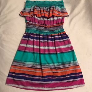 Girls Strapless Abstract Multi-color Dress, Size M